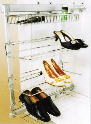 Обувница выдвижная боковая комбинированная четырех ярусная